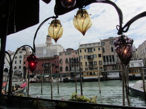 Lunch near the Rialto bridge.